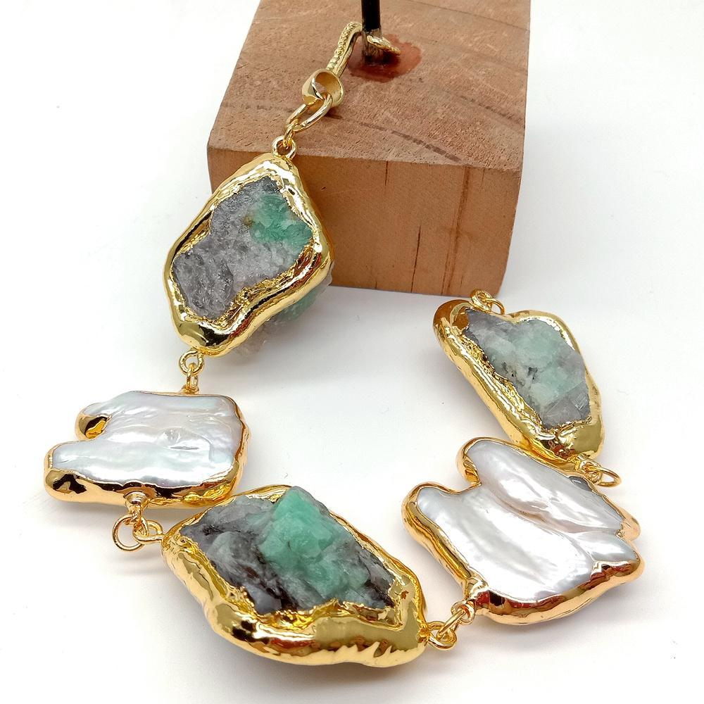 YYGEM Natural Green EmeraldRough Cultured White Keshi Pearl Gold filled wrap Bracelet 8