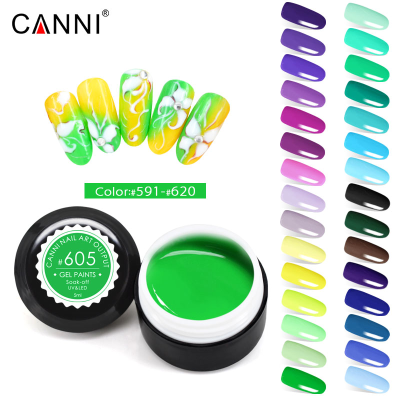 CANNI Gel Varnish 5ml Pure Colors Solid LED UV Gel For Venalisa Nail Art Drawing Design Painting Gel Nail Polish