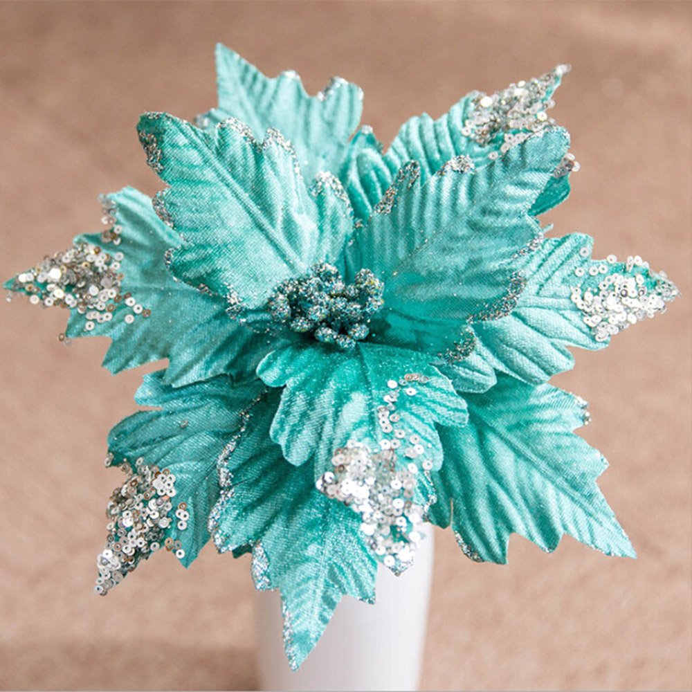Artificial Christmas Flowers Merry Christmas Tree Ornament Artificial Flowers Xmas Tree Glitter Fake Flower Head DIY-2