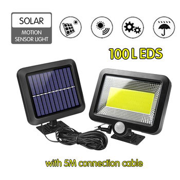 100 LEDs Solar Lamp IP65 Waterproof Sun Power Wall Lights PIR Motion Sensor Outdoor Emergency Light for Garden Industrial Garage
