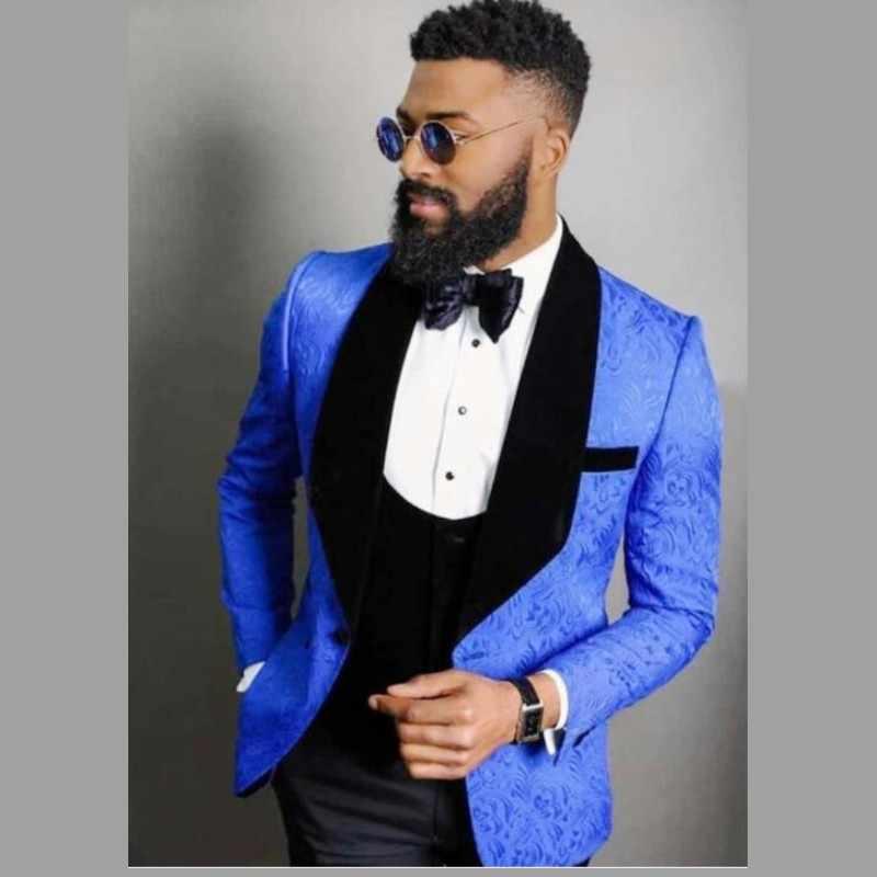 Mavi dantel erkek takım elbise damat giyim siyah şal yaka traje de novio düğün smokin erkek takım elbise 4 adet (ceket + pantolon + yelek + yay)