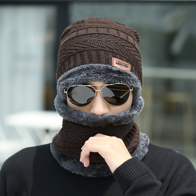 Winter hat Peas man scarf set plus velvet thick men's face caps hood woman outdoor ear protection neck warm scarf knitted hat 6
