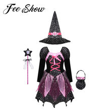 Kids Meisjes Halloween Fairy Heks Cosplay Kostuum Leuke Wizard Outfit Glitter Shiny Gedrukt Jurk & Puntige Hoed Wand Candy Bag set(China)
