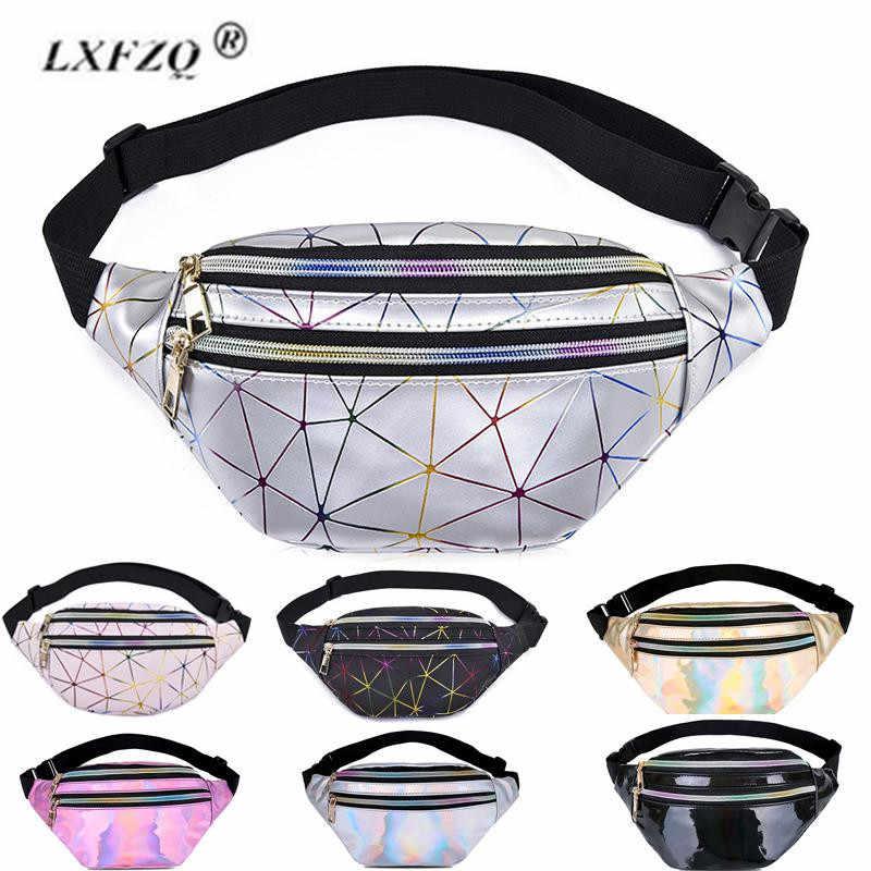 Novo pacote de fanny multi-função vapor punk perna moda saco reflexivo laser bolsa de ombro cinto feminino pochete