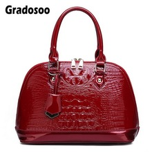 Gradosoo Patent Leather Top-Handle Women Bag Luxury Crocodile Handbag Shoulder Crossbody Bags Female Messenger LBF638