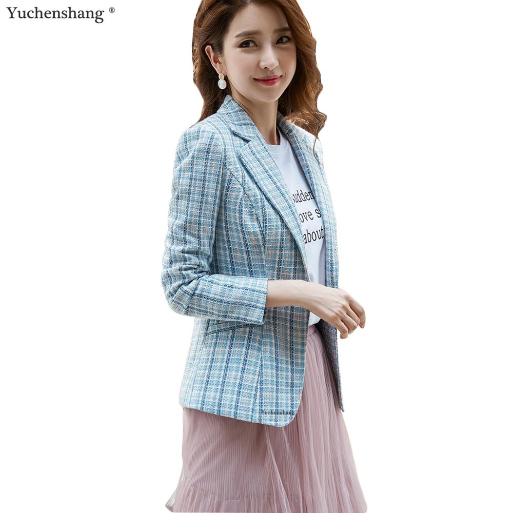2019 Casual Women Blue Pink Apricot Plaid Blazer Long Sleeve Slim Blazer New Chic Outwear Coat Jackets