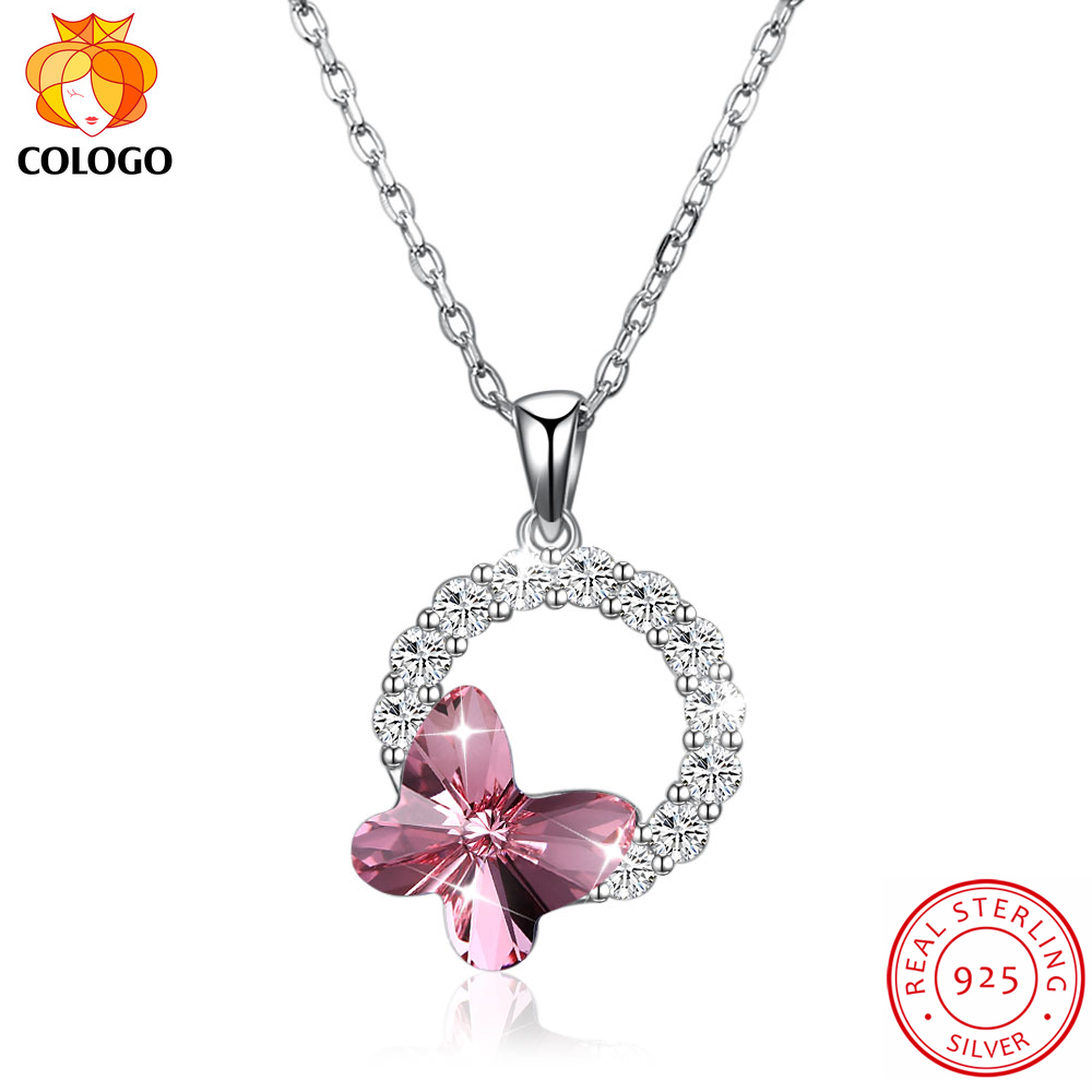 COLOGO Real 925 Sterling Silver Dazzling crystal butterfly Round Dangle pendant Choker Necklace For Women Jewelry Gifts LKN0057 in Pendant Necklaces from Jewelry Accessories