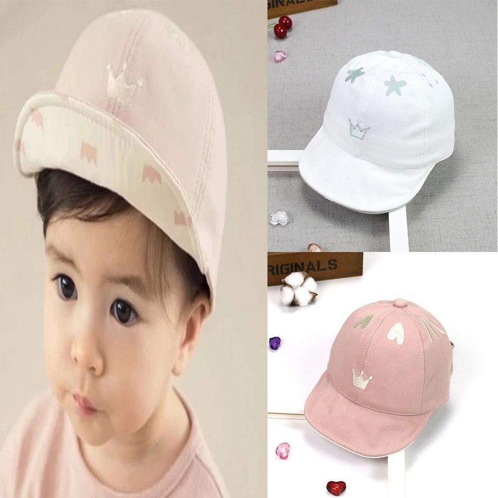 Cute Heart Crown Design Girl Hats Baby Accessories Toddler Unisex Cotton Baseball Cap Adjustable Summer Baby Sun Hats