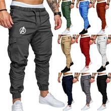 Men Pants Joggers Solid Color 2020 Autumn New Male Cotton Long Trousers Multi-pocket Military Cargo Sweatpants
