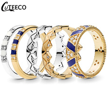 CUTEECO 5 Style Enamel Exotic Stones & Stripes Women Rings Gold Silver Color Wedding Ring Engagement Jewelry 2019 New Lover Gift