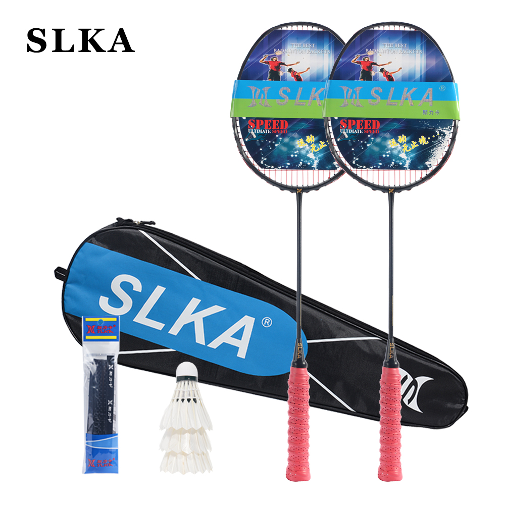 SLKA 1 Pair Curve Shape Full Carbon Badminton Rackets Violent Smash Offensive Men's Badminton Racquet Set Max 32LBS With String