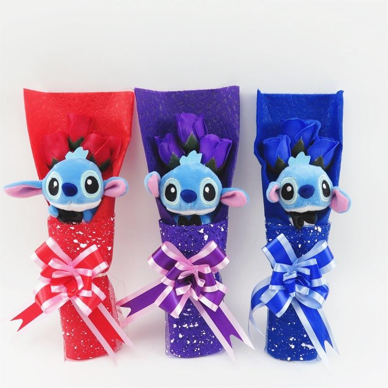 Hot Sale Handmade Stitch Cat Bears Plush Toys Small Bouquet Gift Box Creative Valentine's Day Birthday Graduation Gifts
