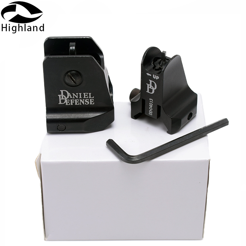 Tactical Hunting Iron Sights W Windage Adjustment Knob 6061 Aluminum DD Fixed Front Rear Iron Sight For Airsoft AR15