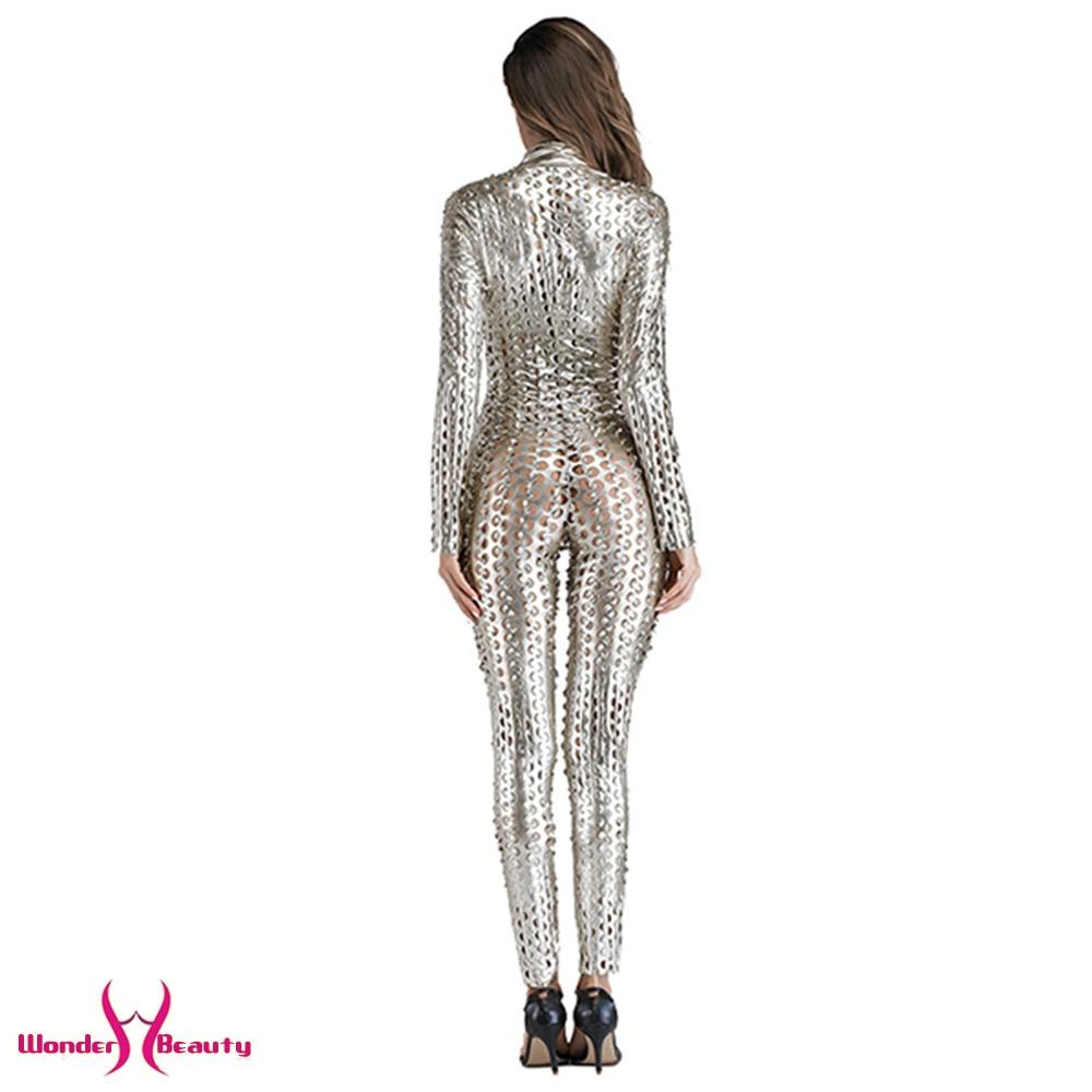 faux leather catsuit catwomen shiny black gold silver metallic leather jumpsuit wetlook pu leotard bodysuit bar night clubwear (22)