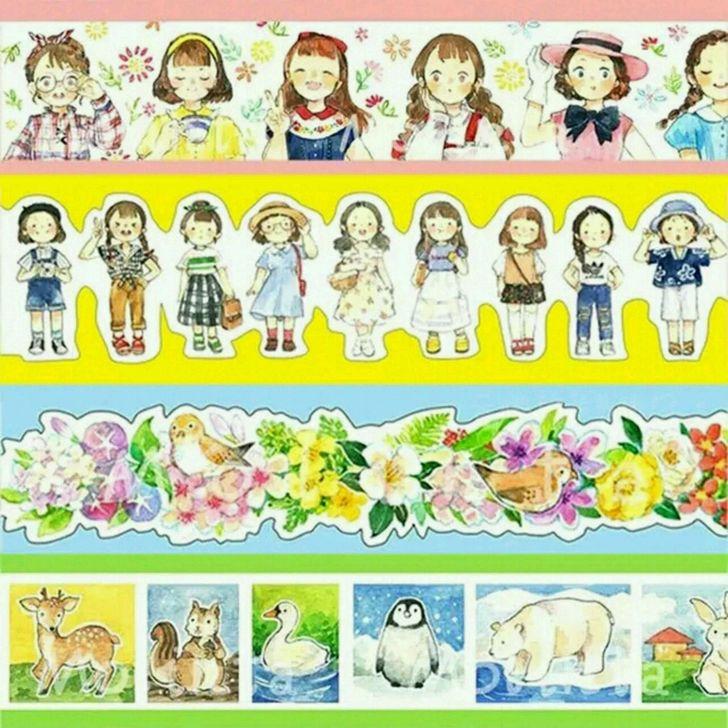 Colorful Summer Series Kawaii Flower Girl Cute Animals Decoration Washi Tape DIY Planner Diary Scrapbooking Masking Tape Escolar