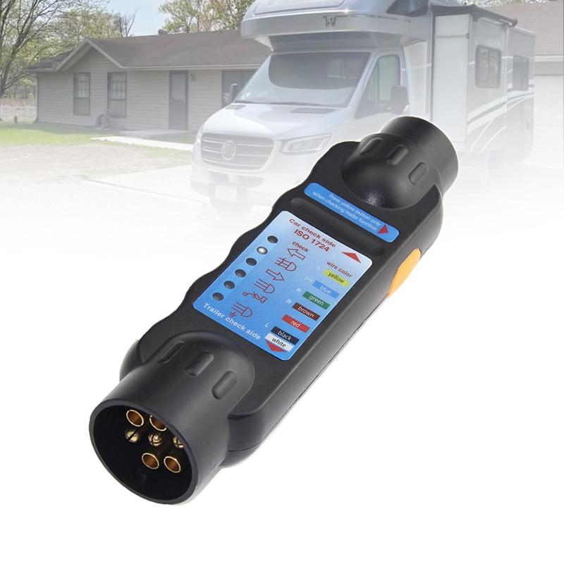 12v europeu 7 pinos plugue do reboque soquete tester durável caminhão circuito de fiação luz teste ferramenta rv reboque do carro soquete testes de circuito