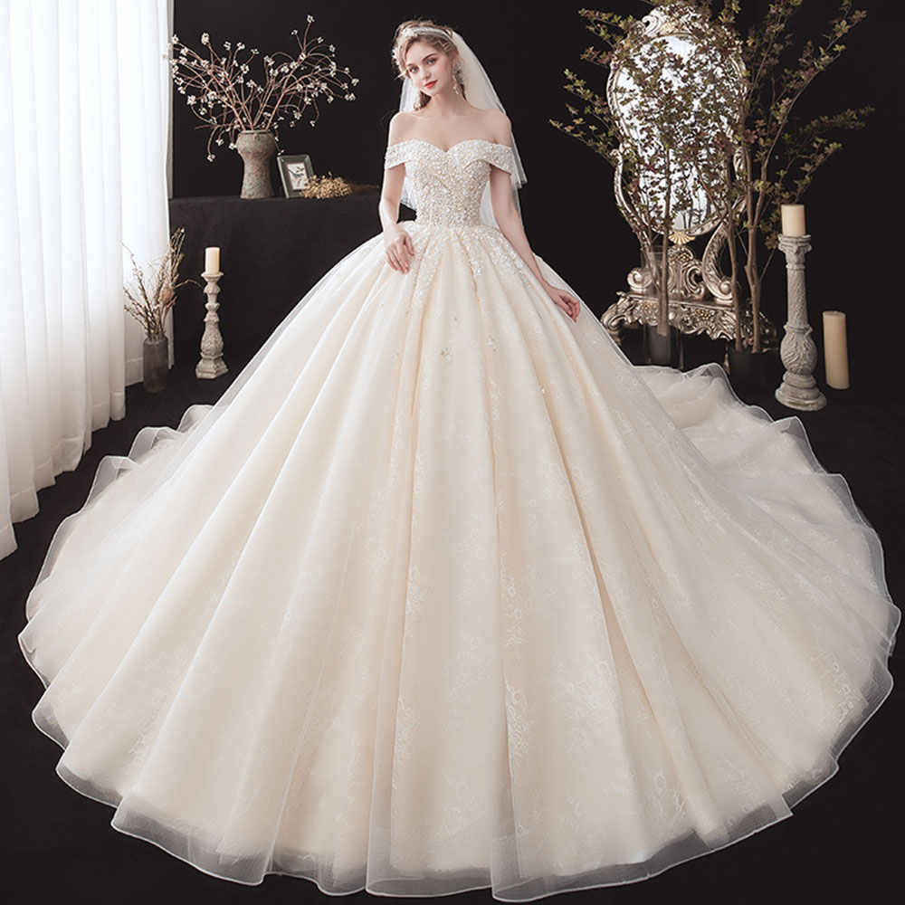 Ball-Gown Wedding-Dresses Short-Sleeve Beading Sequins Alibaba Plus-Size Flowers Princesa