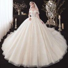الزهور الخرز الترتر الدانتيل الكرة ثوب فساتين الزفاف زائد حجم Vestido De Noiva Princesa قصيرة الأكمام فساتين الزفاف