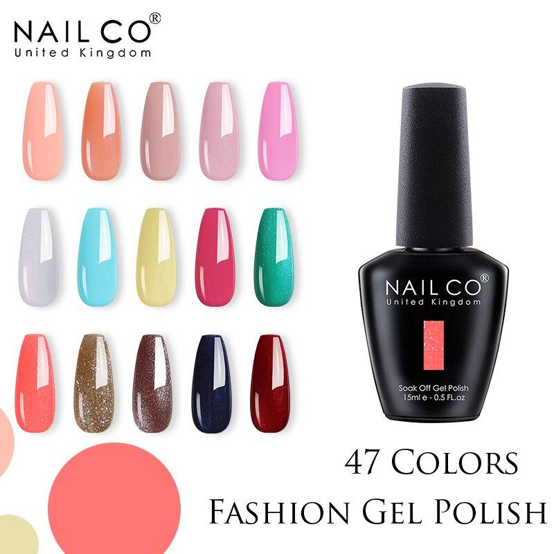 NAILCO 15 мл Гель-лак для ногтей 47 цветов Ультрафиолетовый светодиодный полуперманентный лак для Ногтей Стойкий Гибридный Гель-лак