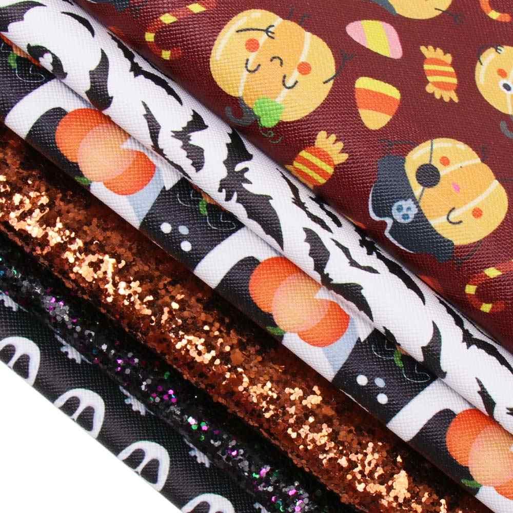 Xugar 6 sztuk/zestaw 22*30cm Halloween ze skóry syntetycznej z nadrukiem ze skóry syntetycznej, brokat do włosów DIY Bow akcesoria torby handmade rzemiosło