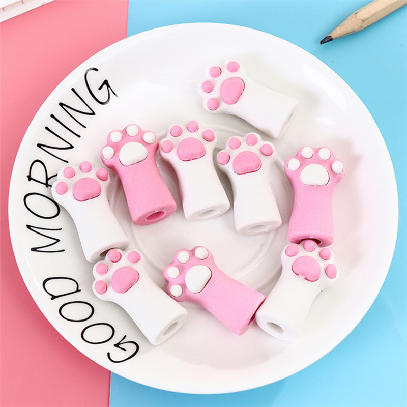 1PC Kawaii Rubber Cat Paw Cat Claw Pen Pencil Cap Eraser Stationery Rubber Pencil Grip For Kids Child Pencil Topper