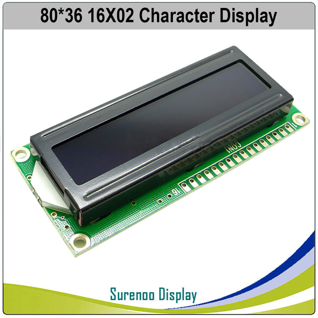 162 1602 16X2 Character LCD Module Display Screen LCM Red/Green/Blue/White/Orange/Yellow on FSTN Negative Black Background 1