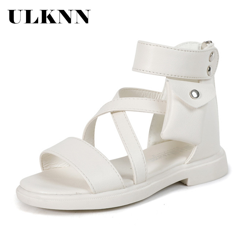 ULKNN New Fashion Princess Roman Soft Beach Shoes Big Kids Leather Sandals 2020 Children Summer Girl Shoes B855