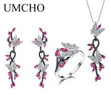 UMCHO 925 Sterling Silver Butterfly Jewelry Set Romantic Ruby Black Spinel Gemstone Rings Pendant Drop Earrings For Women Gift