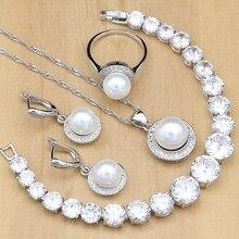 Argent 925 ensembles de bijoux de mariée perles rondes perles blanc Zircon Bracelet pour femmes boucles doreilles de mariage/pendentif/collier/anneau
