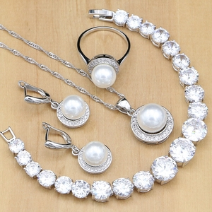 Image 1 - Silver 925 Bridal Jewelry Sets Round Pearls Beads White Zircon Bracelet For Women Wedding Earrings/Pendant/Necklace/Ring