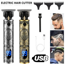 USB Electric Haircut Barber Hair Clipper Grooming Cordless T-Blade Trimmer Hair Cutting Machine Rechargeable Beard Shaver Razor