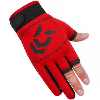 3 palce Cut rękawice wędkarskie narzędzie dla mężczyzn antypoślizgowe rękawice wędkarskie na zewnątrz elastyczność rękawice akcesoria wędkarskie ryby SBR rękawice tanie i dobre opinie CN (pochodzenie) OD2655-01B Anti-Slip Pół palca