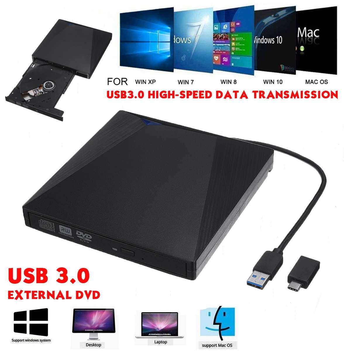 External Optical Drive USB3.0 DVD Burner RW CD Writer Slim Optical Drive Burner Reader Player Tray Type Portable For PC Laptop