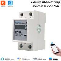 Medidor de potencia inteligente Compatible con Alexa, enchufe de consumo de energía con WiFi, medidor de supervisión de energía de 110V/220V, Control remoto de riel Din