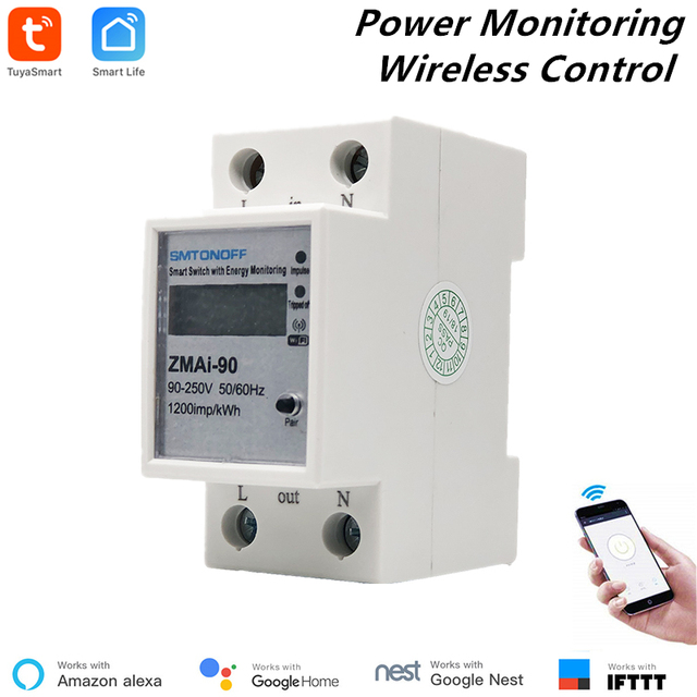 Alexa Compatible Tuya Smart Power Meter WiFi Power Consumption Switch Energy Monitoring Meter 110V/220V Din Rail Remote Control