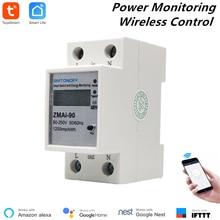Alexa Kompatibel Tuya Smart Power Meter WiFi Power Verbrauch Schalter Energie Überwachung Meter 110V/220V Din Schiene fernbedienung