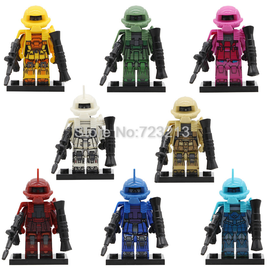 Single Prototype Zaku Early Type Figure Set MS-03 MS-06S MS-07B3 Char Miia Zaku GUNDAM Seed Building Blocks Bricks Toys Legoing