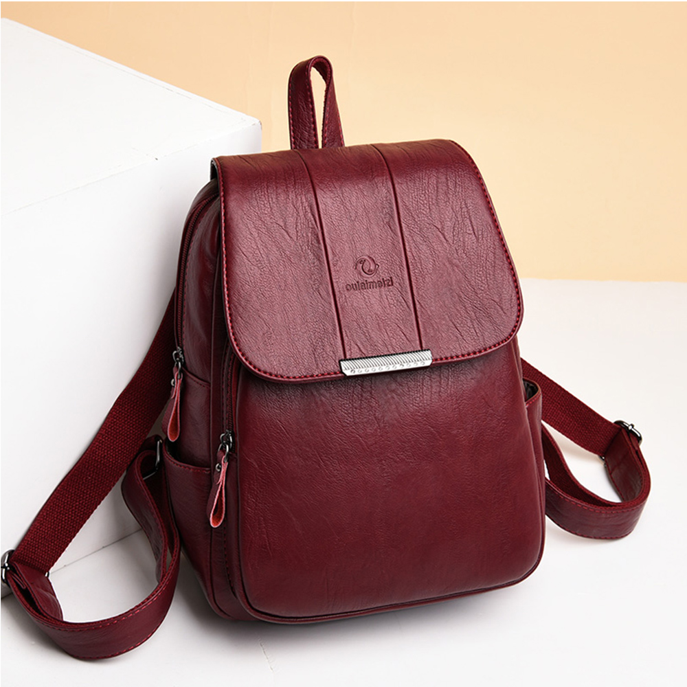Image 2 - Womens Soft Leather Backpack High Quality Female Bagpack School Bags for Teenage Girls Large CTravel Backpack Mochila Mujer 2019-in Backpacks from Luggage & Bags
