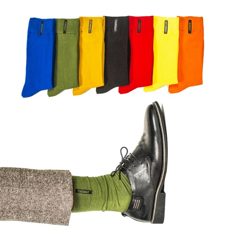 New Men's Fashion Colorful Week Socks Hipster Yellow Green Cool Socks High Thigh Novelty Tube Socks Fall Winter Streetwear