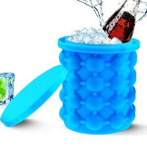 Прямая поставка, портативный 2 в 1, большая силиконовая форма для ведра для льда с крышкой, компактный кубик, инструменты для приготовления п...