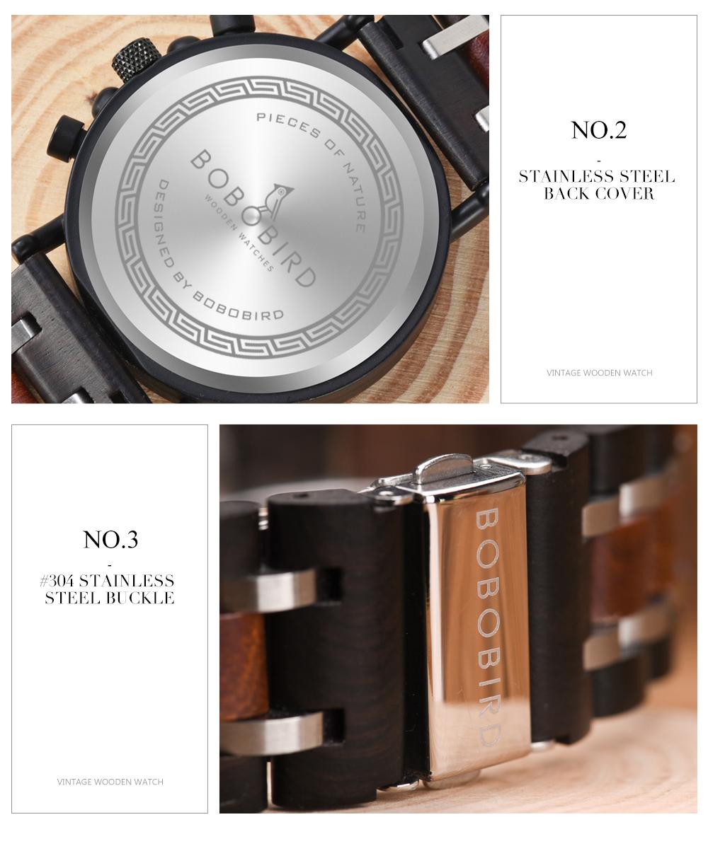 Reloj de madera bambú tallado 11
