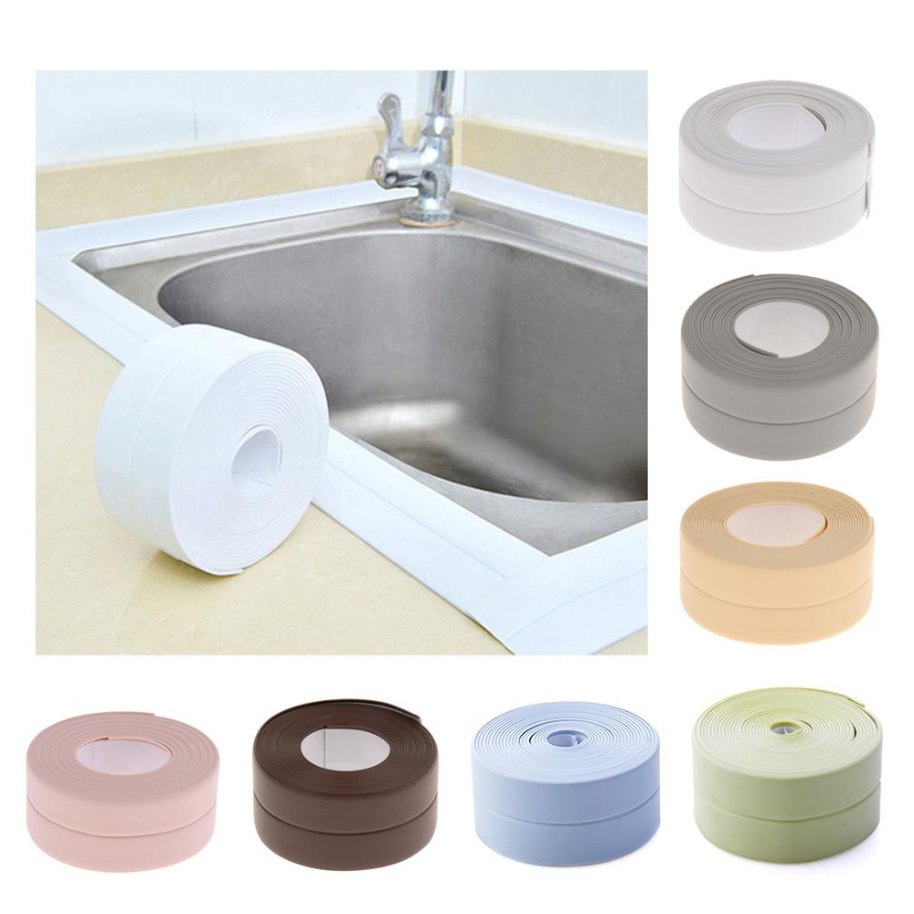 3.8mx7cm Bathroom Shower Sink Bath Sealing Strip Tape Caulk Strip Self Adhesive Waterproof Wall Sticker For Bathroom Kitchen