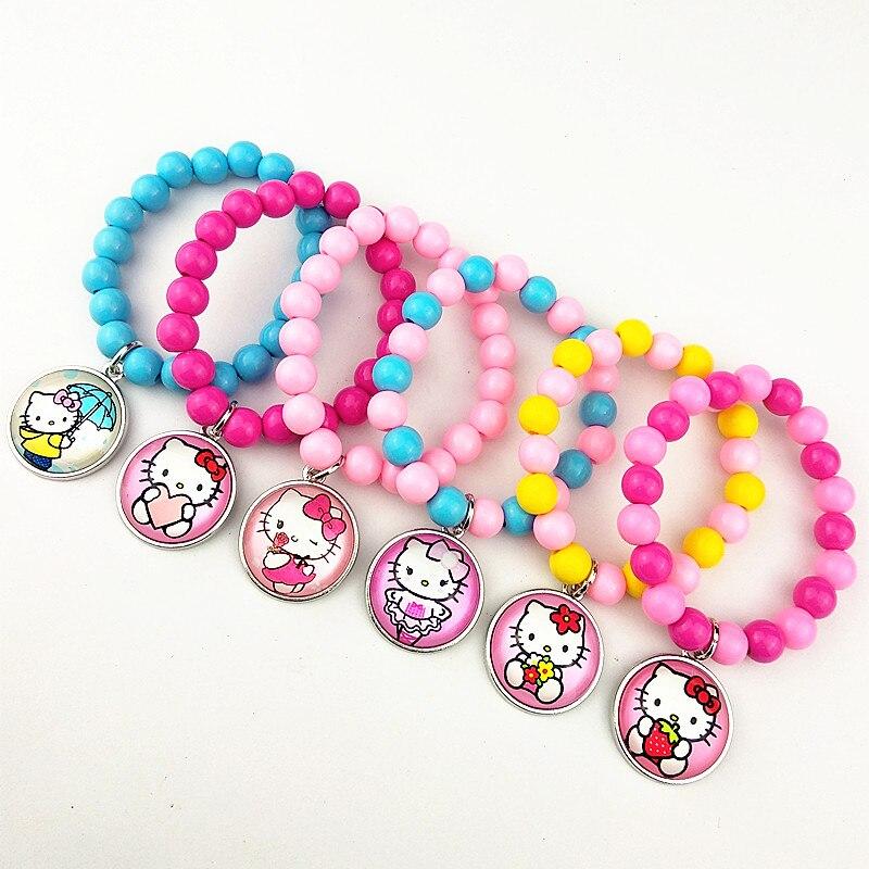 24 шт новые стили мультфильм кукла красочные бусы стеклянные браслеты ожерелье брелок кольцо серьги ювелирные изделия серии для девочек - Окраска металла: Титановое покрытие