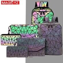 Conjunto de mochila con lentejuelas triangulares luminosas láser, bolso de hombro para mujer, mochila escolar para niñas, mochila holográfica de diseño femenino