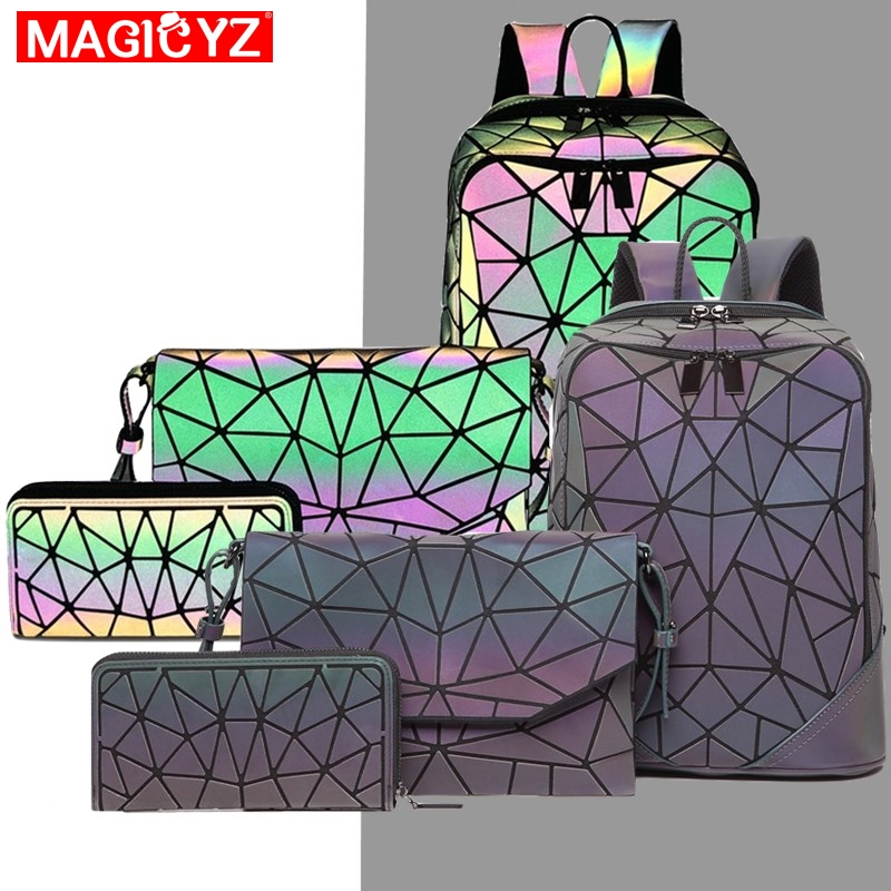 Laser Luminous Triangle Sequin set Backpack for women's shoulder bag School Girls Backpack Female Design Backbag holographic bag-in Backpacks from Luggage & Bags