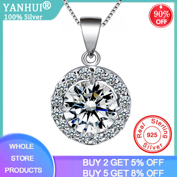 Top 2ct Lab Diamond Round Pendant Necklace 925 Sterling Silver Choker Statement Necklace Women Silver 925 Jewelry With Box Chain natural amethyst pendant necklace 925 sterling silver gemstone choker statement necklace women silver 925 jewelry no chain