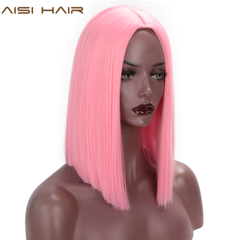 AISI HAIR Pink Wig Synthetic Short Straight Hair Middle Part Shoulder Length Bob Wigs For Women Colorful Purple Cosplay Hair
