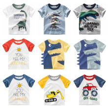 Boys T-shirt Summer Children Tops Clothing  Cotton Dinosaur Short Sleeve T Shirts Kids Boy White Girls Tee Toddler 2-8Years Baby 80 120cm cute animal dinosaur children tops short sleeve t shirt summer kids boys clothing shirts tee casual baby boys clothes
