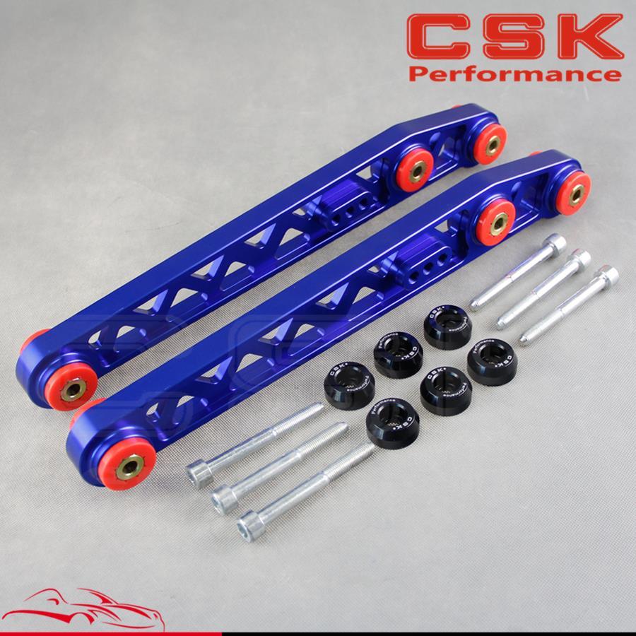 Bras de cambrure de contrôle inférieur arrière LCA convient pour 96-00 Honda Civic EK EJ + rondelle de douille bleu/noir/rouge/violet/argent/or