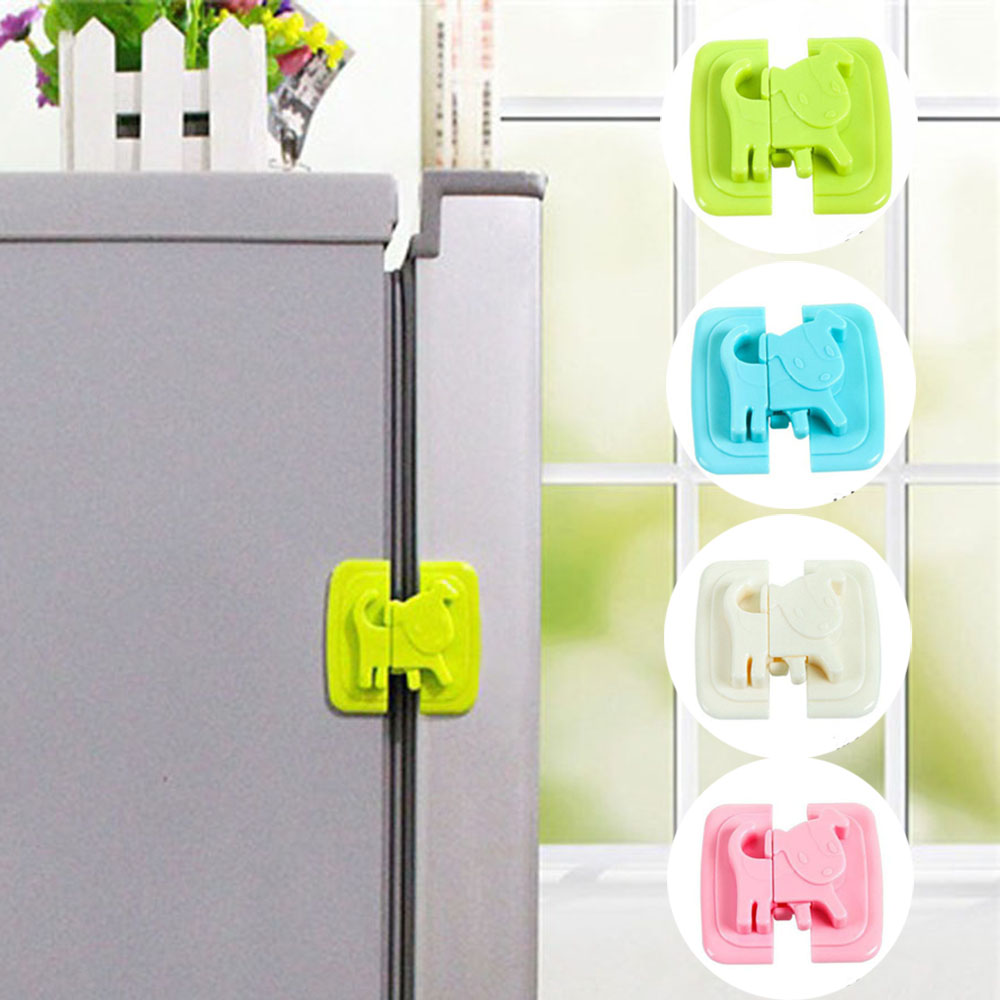 1pcs Cartoon Dog Plastic Safe Refrigerator Lock Adhesive-Self Cupboards Cabinets Drawer Lock Kids Protection